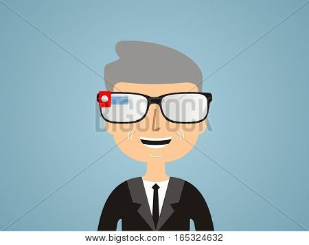men in smart glasses. Communication concept. vector