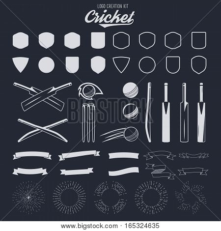 Cricket logo creation kit. Sports logo designs. Cricket icons vector set. Create your own emblem design fast. Sports symbols, elements - ball, bats, shapes, gear, equipment for web or t-shirt