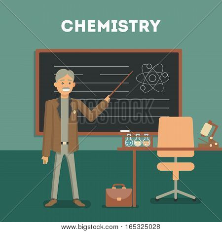 Chemistry classroom with teacher or professor. Science at shool or university. Chemical lab. Room with board, table and bottles.