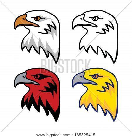 Set of Eagle Heads Mascot Vector Illustration