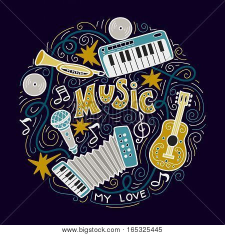 Abstract Music Background , Collage with musical instruments.Hand drawing Doodle, vector illustration.