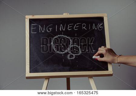 Engineering Word Written On Chalkboard