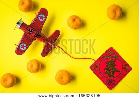 Chinese New Year Decoration--Red Packet ,Character on Packet Symbolizes Good Luck, yellow background