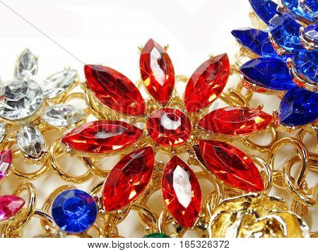 jewelry as fashion background necklace with bright colorful crystals
