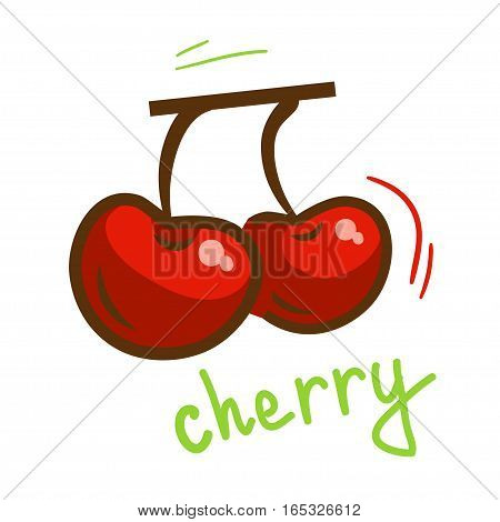 Ripe red fresh cherry berries. Vector Illustration.