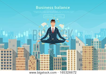 Businessman doing yoga in lotus pose. Human sitting and mindful meditating in lotus asana in zen peace. Vector illustration of city landscape in flat style.