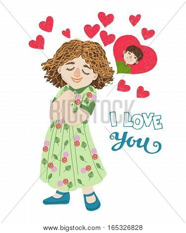 Hand-drawn cartoon girl thinks about the boy. I love you greeting card, vector illustration