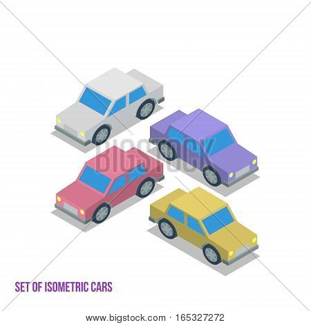 Set of Isometric Cars isolated Vector Illustration
