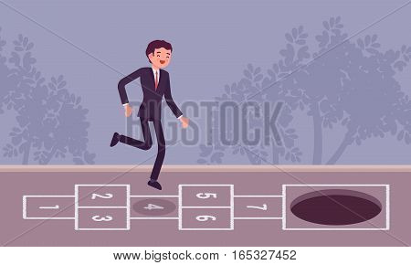 Young carefree businessman playing hopscotch, jumping unaware of hole in front of him, danger zone, lack of knowlage, start-up growth phase leading to the end, falling into the pit