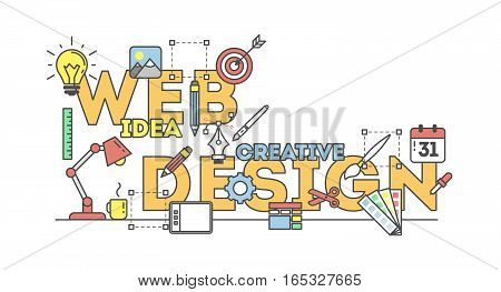 Web design illustration with icons. Concept of creating websites, creating logos, ux, seo and more. White background.