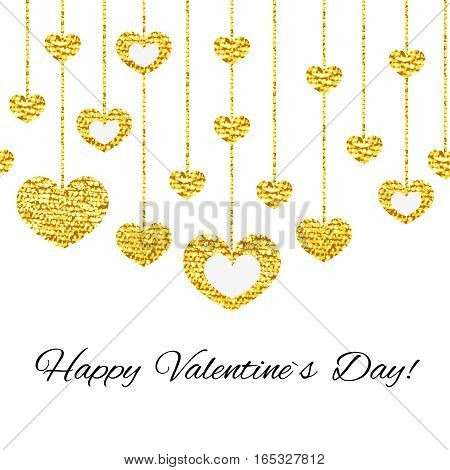 Happy valentines day card with golden glitter heart seamless garland isolated on white background. Art vector illustration.