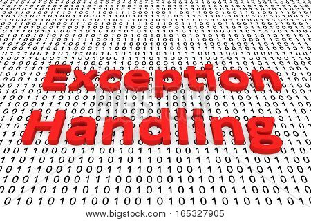 exception handling in the form of binary code, 3D illustration