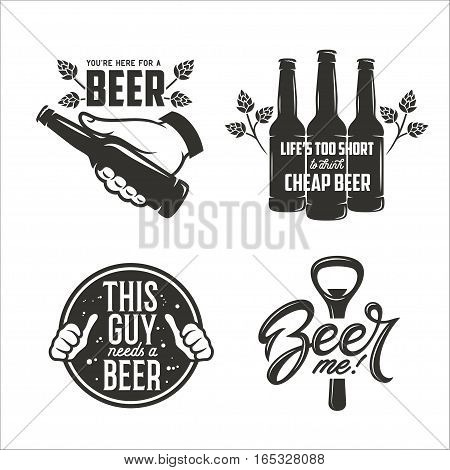 Beer related quotes set. Hand with bottle. Design elements for beer pub advertising, prints and posters. Vector vintage illustration.