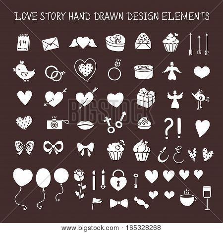 Love story hand drawn design elements doodle set. Decorative shapes for valentine day, wedding greeting cards and invitations. Vector vintage illustration.