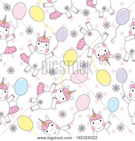 Seamless background of Birthday illustration with cute unicorn girl with colorful balloons on polka dot background suitable for birthday wallpaper, scrap paper and postcard