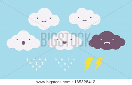 Set of white rainy, snowy, dark lightning storm, happy, sad clouds, on a light blue sky, basic positive and negative emotions, collection of feelings, icons for weather forecast, types of mood