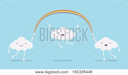 Happy cute white clouds with legs and arms jumping over a ranbow long rope, over heads, skipping rope activity, outdoor healthy fun for kids, carefree and happy time in a good weather, nursery decor