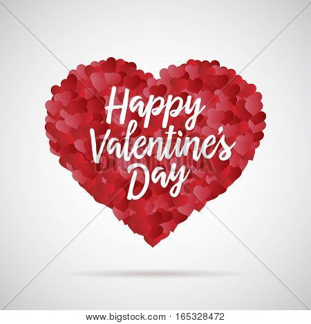 Valentine day heart. Decorative background with lot of hearts. Happy valentines day lettering. Vector illustration.