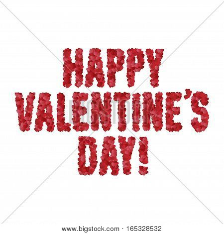 Valentine day greeting message. Text made of hearts. Vector illustration.