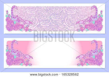 Zodiac sign Scorpio. Detailed realistic scorpio in a decorative frame of roses. Vector drawing isolated on white background. Concept art for tattoo design, horoscope. Horizontal banners