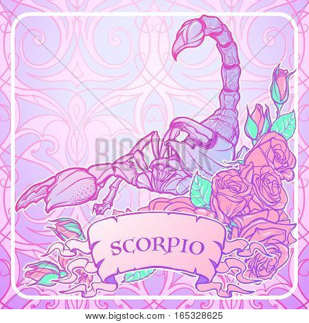Zodiac sign Scorpio. Detailed realistic scorpio in a decorative frame of roses. Vector drawing isolated on white background. Concept art for tattoo design, horoscope, coloring book for adults page.