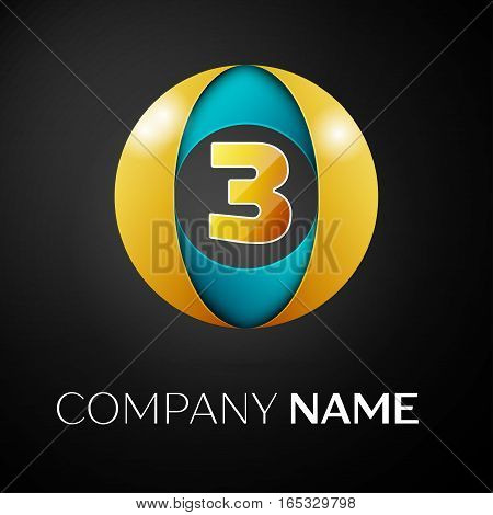 Number three vector logo symbol in the colorful circle on black background. Vector template for your design