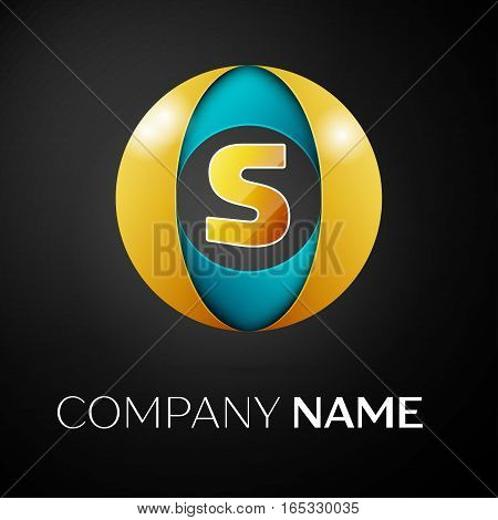 Letter S vector logo symbol in the colorful circle on black background. Vector template for your design