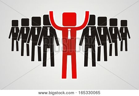 Leadership concept - group of workers should be the leader