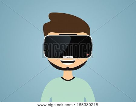 boy in virtual reality glasses. communication concept. vector