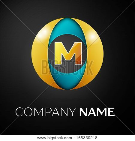 Letter M vector logo symbol in the colorful circle on black background. Vector template for your design
