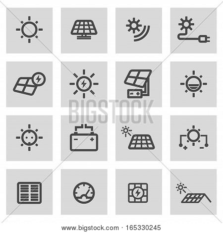 Vector line solar energy icons set on grey background