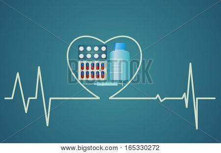 health concept - heart symbol consists of the pills flat design