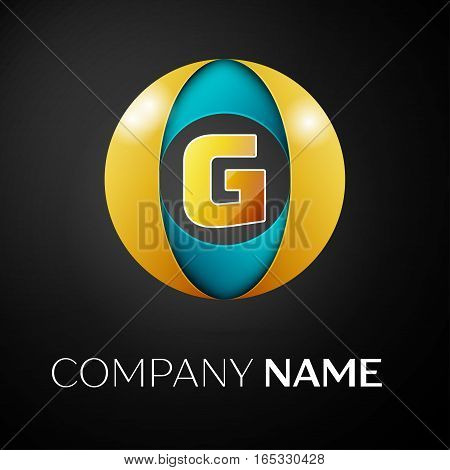 Letter G vector logo symbol in the colorful circle on black background. Vector template for your design