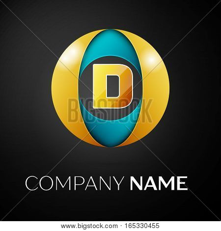Letter D vector logo symbol in the colorful circle on black background. Vector template for your design