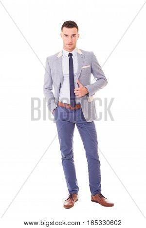 Portrait Of Young Businessman In Blazer, Isolated On White Background