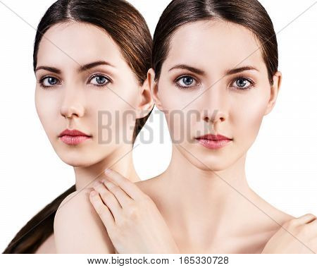 Young woman faces over white background. Spa concept.
