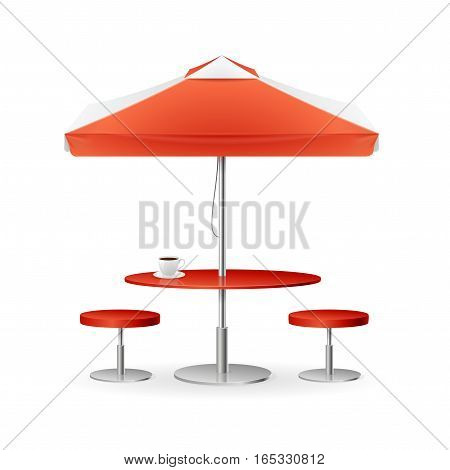 Red Parasol Promo Summer Caffee with Table and Chairs for City Streets and the Beach. Vector illustration