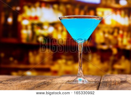 Blue Cocktail On Wooden Table