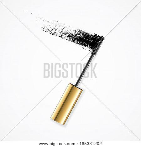 Realistic Mascara Gold Brush Strokes for Fashion Glamour Female Makeup. Vector illustration