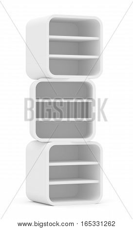 Empty rounded retail shelves. Front view. Template. 3D Illustration, Isolated on white