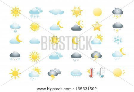 30 weather icons on white background vector illustration