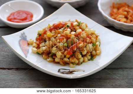 Vietnamese Street Food, Corn Fried Dried Shrimp