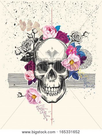Naturalistic human skull drawn in etching style and surrounded by rose flowers with black ink spatter and lines on background. Trendy vector illustration for postcard flyer t-shirt print poster.