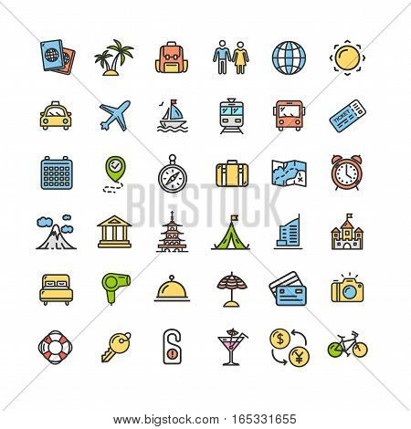 Travel and Tourism Color Icon Thin Line Set Pixel Perfect Art. Material Design for Web and App. Vector illustration