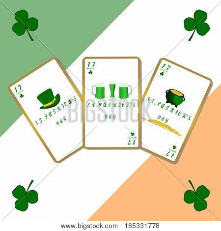 Abstract vector illustration of logo for St.Patrick's day,green clover background.Saint patrick drawing that consists of a symbol of the shamrock  clovers,leaves shamrocks.Celebrate holidays patrick's
