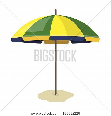 Yelow-green beach umbrella icon in cartoon design isolated on white background. Brazil country symbol stock vector illustration.