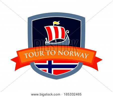 Vector Badge, Coat of Arms with Drakkar Illustration and Flag of Norway. Ribbon with Caption 'Tour To Norway'. Illustration to Travel Company in Scandinavia.