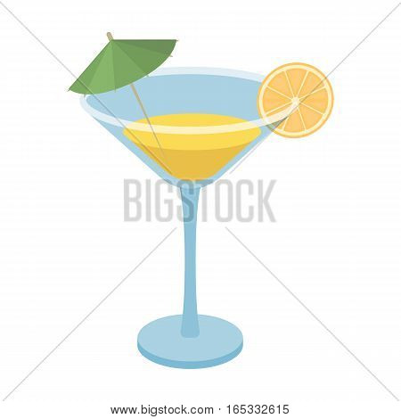 Lemon cocktail icon in cartoon design isolated on white background. Brazil country symbol stock vector illustration.