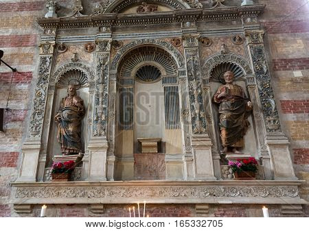 PADUA, ITALY - MAY 3, 2016: The tomb of Jacopo da Carrara by venetian sculptor Andriolo de Santi (14. cent.) in the church of The Eremitani . Padua Italy