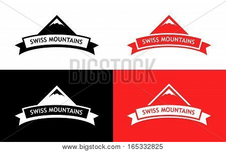 Swiss Mountains - Flat  Emblem on White Red and Black Background. Design of Logo with Silhouette of Rock and Ribbon with Caption 'Swiss Mountains'.